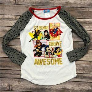 DC superhero girls comic jersey baseball tunic T